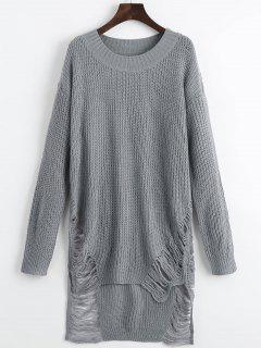 Distressed Mini Sweater Dress - Gray S
