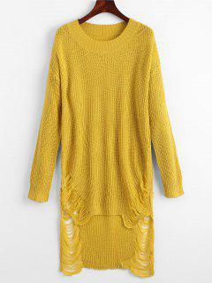 Zerrissenes Mini Pullover Kleid - Gelb S