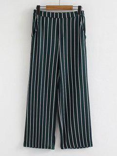Lässige High Waisted Stripes Wide Leg Hose - Streifen  L