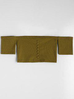 Buttoned Knitted Off Shoulder Top - Army Green S