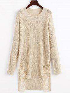 Distressed Mini Sweater Dress - Beige S