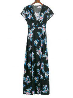Cap Sleeve Flower Wrap Maxi Dress - Floral L