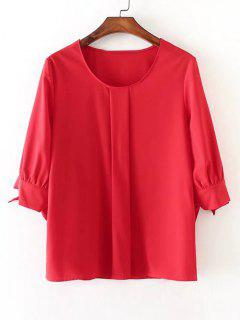 Chiffon Bow Tied Sleeve Blouse - Red S