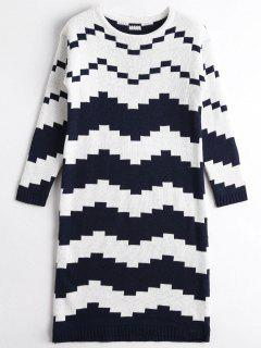 Two Tone Sweater Dress - Blue And White
