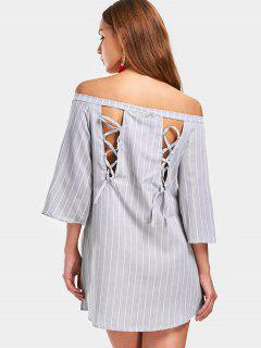 Off Shoulder Back Lace Up Striped Dress - Stripe Xl
