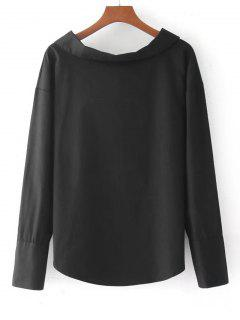 Long Sleeve Bowknot Back Blouse - Black S