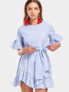 Flare Sleeve Ruffled Striped Belted Dress - Light Blue L