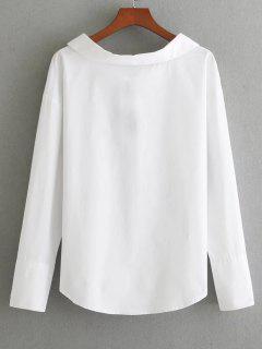 Long Sleeve Bowknot Back Blouse - White M