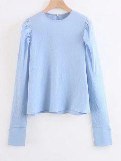 Long Sleeve Keyhole Blouse - Light Blue S