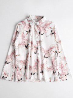 Birds Print Button Up Shirt - White