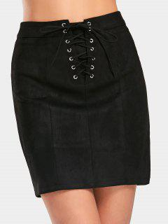 Lace Up High Waist Faux Suede Skirt - Black M