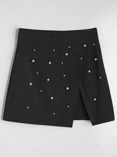 Slit Faux Pearl A Line Mini Skirt - Black L