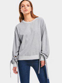 Self Tie Sleeve Drop Shoulder Sweatshirt - Gray S