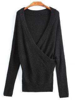Overlap Off The Shoulder Knitted  Sweater - Black