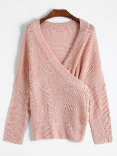Overlap Off The Shoulder Knitted  Sweater - Shallow Pink