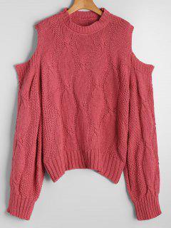 Pullover Mit Kalter Schulter Und Kabel Strick  - Rot