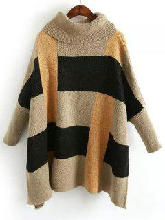 Color Block Side Slit Turtleneck Sweater - Multicolor