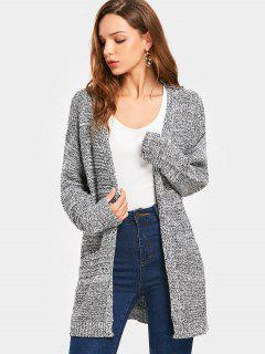 Drop Shoulder Pockets Cardigan - Heather Gray