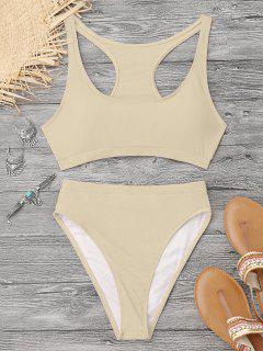 High Cut Racerback Sporty Bikini - Yellowish Pink S
