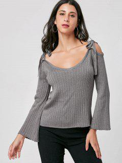 Tie Shoulder Ribbed Knitwear - Gray 2xl
