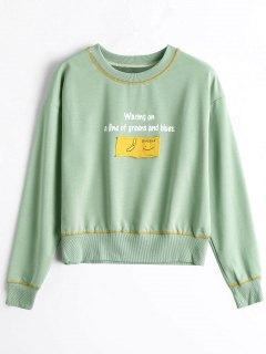 Camiseta Del Gráfico Del Applique Del Cuello De Equipo - Guisante Verde