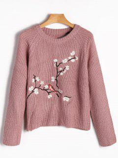 Raglan Sleeve Floral Embroidered Chunky Sweater - Pinkish Purple M