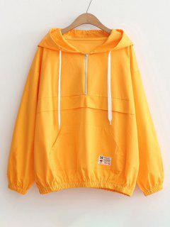 Patched Pocket Half Zip Hoodie - Yellow