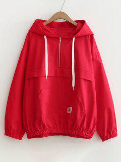 Patched Pocket Half Zip Hoodie - Red