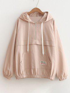 Patched Pocket Half Zip Hoodie - Pink