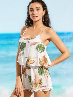 Cami Leaf Print Overlay Beach Romper - White L