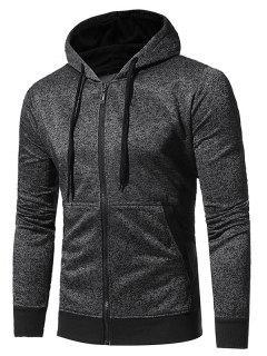 Hooded Pouch Pocket Fleece Zip Up Hoodie - Black M
