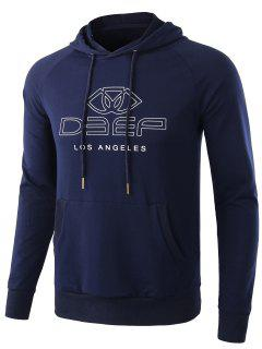 Stretch Letter Print Pullover Hoodie - Blue L