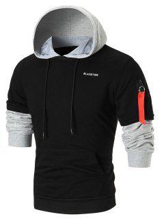 Zip Sleeved Color Block Fleece Hoodie - Black M