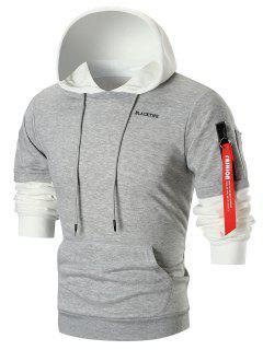 Zip Sleeved Color Block Fleece Hoodie - Light Gray Xl