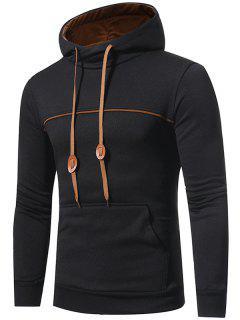 Hooded Edging Drawstring Fleece Pullover Hoodie - Black M