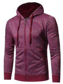 Hooded Pouch Pocket Fleece Zip Up Hoodie - Wine Red M