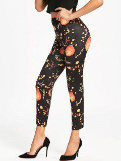 High Waist Halloween Fire Leggings - Black 2xl