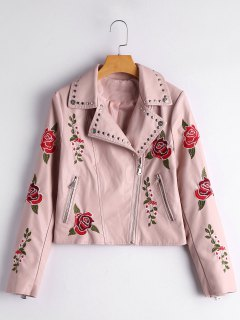 Floral Patched Rivet Embellished Faux Leather Jacket - Light Pink Xl