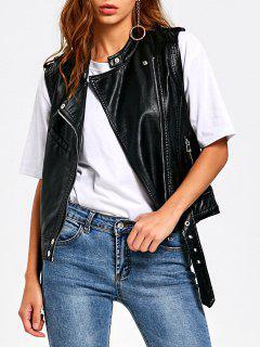Zipper Pockets Epaulet PU Leather Waistcoat - Black L
