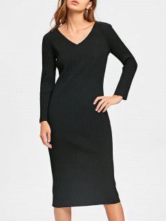 Long Sleeve Cut Out Ribbed Dress - Black 2xl