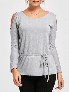 Cold Shoulder Drawstring Drop Waist T-shirt - Gray Xl