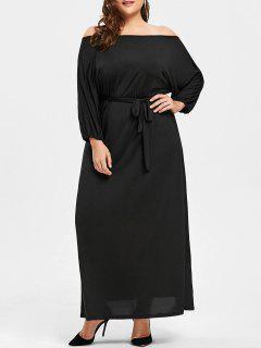 Plus Size Off The Shoulder Belted Maxi Dress - Black 2xl
