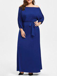 Plus Size Off The Shoulder Belted Maxi Dress - Blue 2xl