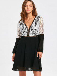 Long Sleeve Cutout Lace Panel Openwork Dress - White And Black 2xl