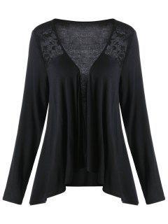 Lace Panel Plus Size Drape Cardigan - Black 3xl