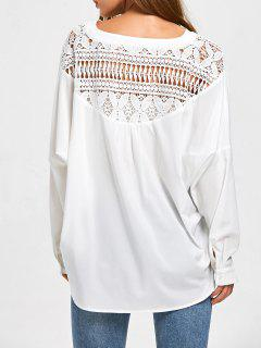 Oversized Lace Insert High Low Shirt - White 2xl