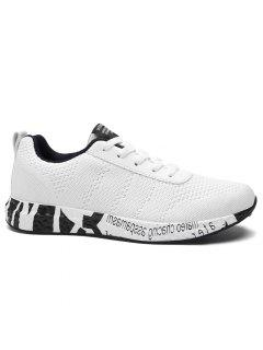 Letter Mesh Breathable Sneakers - White 40