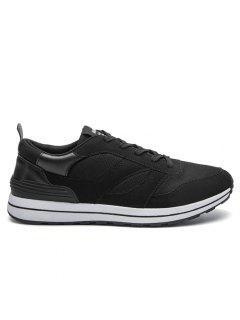 Mesh Color Block Low Top Athletic Shoes - Black 44