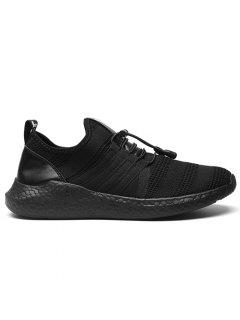 Stripes Mesh Athletic Shoes - Black 44