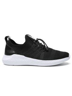Stripes Mesh Athletic Shoes - Black White 40